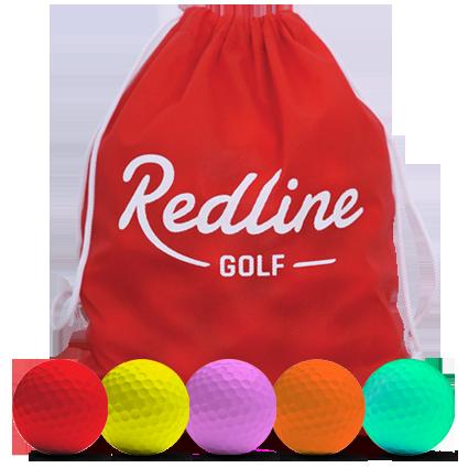 60 gekleurde golfballen in een golfballenzak