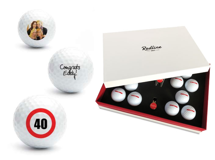 golf gift box with 12 personalised golf balls
