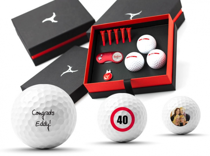 golfcadeau met bedrukte golfballen